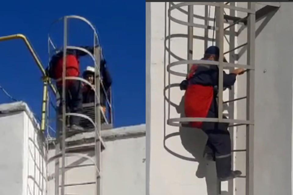 """Спасатели надели на рабочего альпснаряжение. Фото: группа """"Спасатели МАСС"""" """"ВКонтакте"""""""