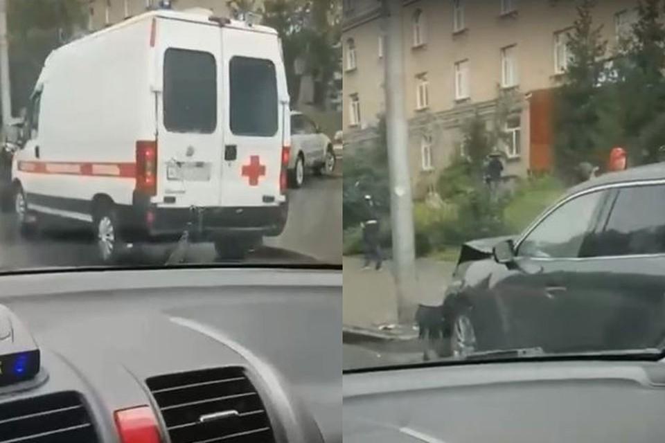 В Новосибирске, днем, 14 сентября, на Красном проспекте столкнулись две иномарки. Фото: Кадр из видео